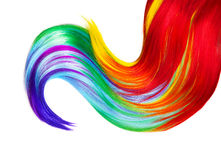 Multicolored hair lock isolated over white Royalty Free Stock Images