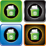 Multicolored halftone web buttons with recycle bin Stock Photos