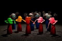 Multicolored Halloween monsters. Group of small Halloween scary rubber monsters in various Colors Stock Images