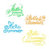 Multicolored hand-drawn inscription Hello, Summer!Lettering. stock illustration