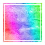 Multicolored hand drawn watercolor rectangular frame background texture with stains. Modern design element stock photo