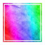 Multicolored hand drawn watercolor rectangular frame background texture with stains. Modern design element royalty free stock photography