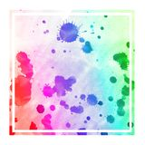 Multicolored hand drawn watercolor rectangular frame background texture with stains. Modern design element vector illustration