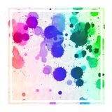 Multicolored hand drawn watercolor rectangular frame background texture with stains. Modern design element royalty free illustration