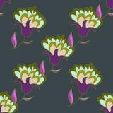 Multicolored hand getrokken bloemen naadloos patroon Stock Fotografie