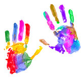 Multicolored hand print. On white background Stock Image