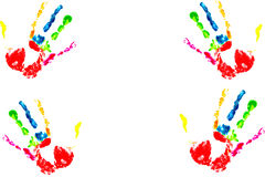 Multicolored hand print Stock Photos