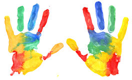 Multicolored hand print Royalty Free Stock Images