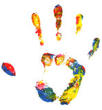 Multicolored hand print Stock Photography