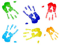 Multicolored hand prints Stock Photo
