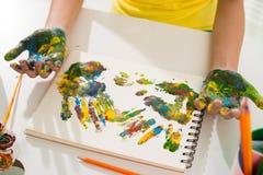 Multicolored hand prints Stock Photo