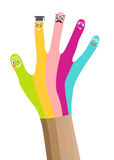 Multicolored hand with smiles isolated in white Stock Photography