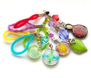 Multicolored handmade key chains Stock Photography