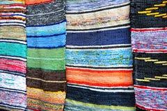 Multicolored handmade rugs. Royalty Free Stock Photo