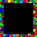 Multicolored handprints border isolated on black background. Colorful rainbow frame work with empty copy space for text or image and multicolored handprints Royalty Free Stock Image