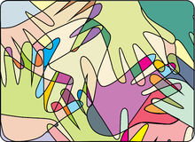 Multicolored hands. Abstract drawing of a set of overlaping hands giving the idea of divertisity stock illustration