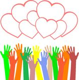 Multicolored Hands Holding The Heart. Vector Royalty Free Stock Image