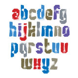 Multicolored handwritten lowercase letters, vector doodle brush Stock Photos