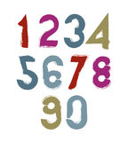 Multicolored handwritten numbers, vector doodle brushed figures, Royalty Free Stock Photos