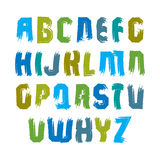 Multicolored handwritten uppercase letters, vector doodle brush Royalty Free Stock Image