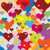 Multicolored hartenpatroon - - Blije Accumulatie Stock Foto