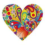 Multicolored heart on white. Multicolored heart with small elements for Valentin Day card design isolated on white background royalty free illustration