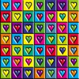 Multicolored Hearts. Abstract Seamless Background - Multicolored pastel squares with hearts stock illustration