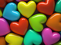 Multicolored hearts  on background. 3D illustration Stock Photos