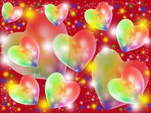 Colorful abstract hearts. Multicolored hearts flying on a claret background Royalty Free Stock Photo