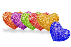 Multicolored hearts' row Royalty Free Stock Image