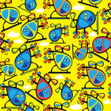 Multicolored helicopter toy seamless pattern Royalty Free Stock Photo