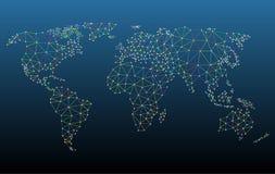 Multicolored het Netwerknetwerk van de Wereldkaart Royalty-vrije Stock Afbeeldingen