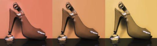 Multicolored high-heeled modieuze schoenen Stock Afbeeldingen