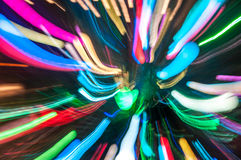 Multicolored holiday lights. Abstract background of defocused holiday lights stock images