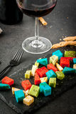 Multicolored holland cheese Stock Photography