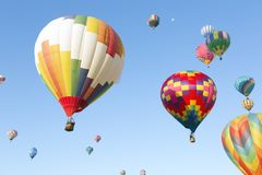 Multicolored hot air balloons stock photo