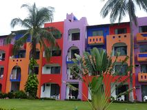 Multicolored hotel, Puerta Vallarta Stock Photos