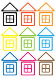 Multicolored house icon set isolated on white Stock Photo