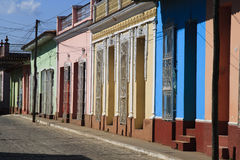 Multicolored houses. Beautiful multi-colored cuban street Stock Images