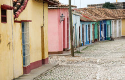 Multicolored houses along the road Stock Photo