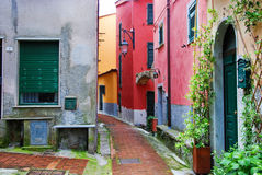 Multicolored houses and buildings in an old Italian village Stock Photo