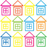 Multicolored houses icon seamless pattern Stock Photo