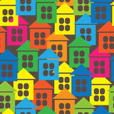 Multicolored houses icon seamless pattern Royalty Free Stock Photography