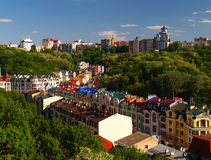 Multicolored houses Kiev Ukraine Royalty Free Stock Photos