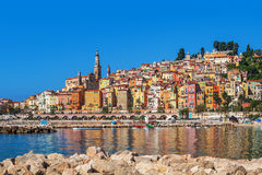 Multicolored houses of Menton, France. Stock Photography