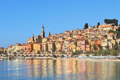 Multicolored houses of Menton, France. Stock Image