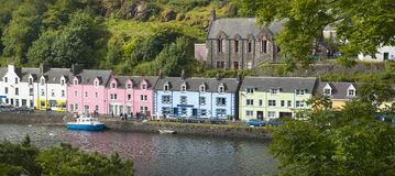 Multicolored houses in Portree. Skye isle. Scotland. UK Royalty Free Stock Photos