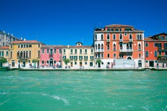 Multicolored houses of Venice seen from the sea Stock Photography