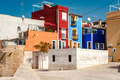 Multicolored houses of Villajoyosa town. Costa Blanca. Spain Royalty Free Stock Images