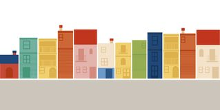 Multicolored houses on white background. Royalty Free Stock Images